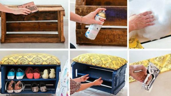Шкафче за обувки от дървена щайга