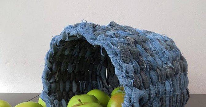 Направи си сам разкошен плетен кош от дънки