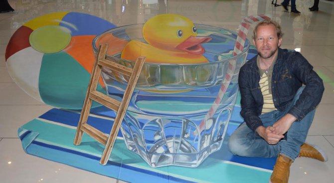 Световноизвестният художник Леон Кеер нарисува 3D картина в София