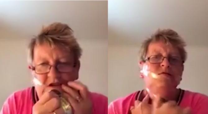 Баба показа как се прави лифтинг с тиксо (видео)