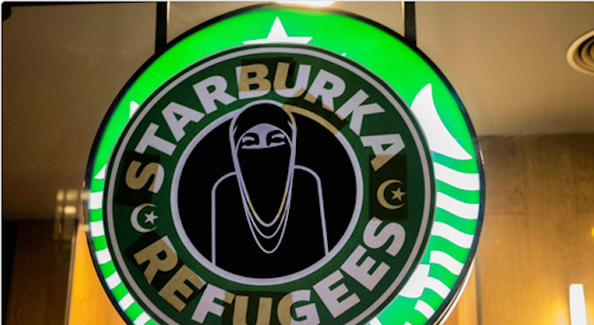 """Неонацисти в Испания смениха логото на """"Старбъкс"""" със """"Старбурка"""" (снимки)"""