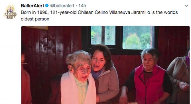 Чилиец на 121 години е най-възрастният човек на планетата