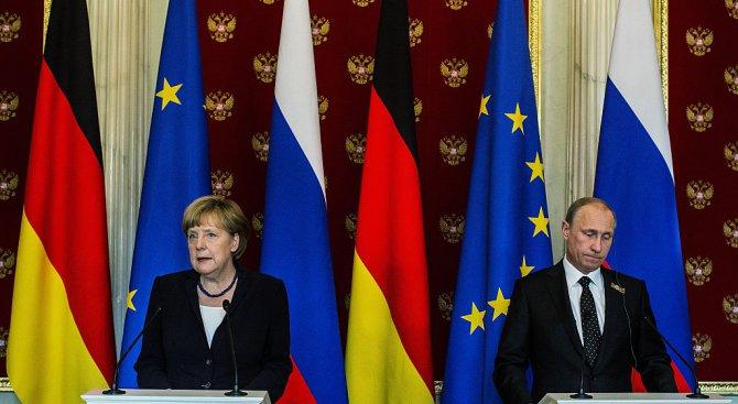 Меркел дава бира на Путин. Той на нея - мезе