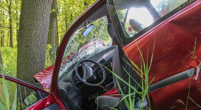 81-годишен шофьор се заби в крайпътно дърво