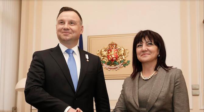 Цвета Караянчева проведе среща с полския президент Анджей Дуда