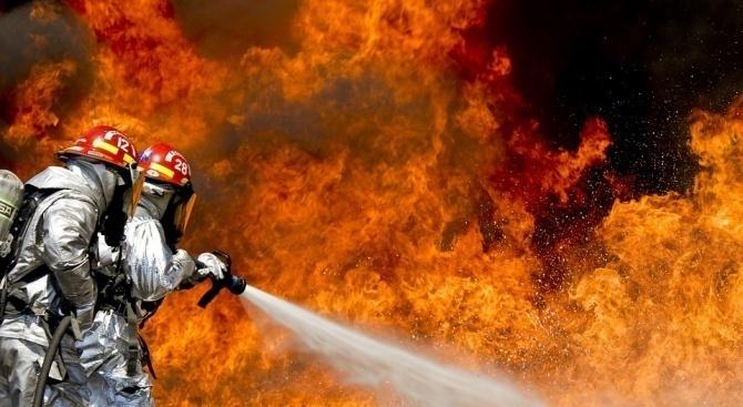 Френски пожарникари се борят с пожар на остров Корсика