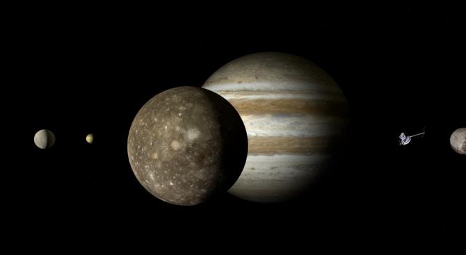 На 10 юни ще можем да наблюдаваме луните на Юпитер с бинокъл