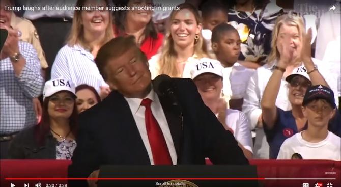"""Тръмп весело се кикоти на предложението """"Застреляйте ги!"""""""