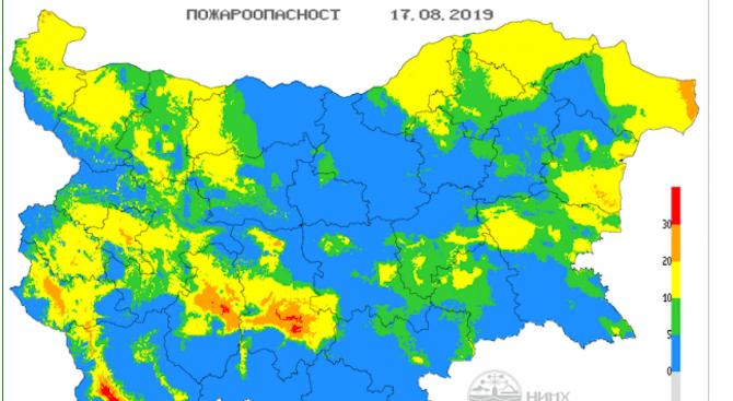 Сериозна опасност за пожари в три области на страната утре