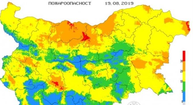 Екстремален индекс за пожароопасност е в сила на места в пет области на страната