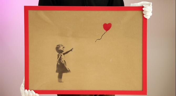 """Репродукция на """"Момиче с балон"""" на Банкси беше продадена за почти 500 000 долара"""