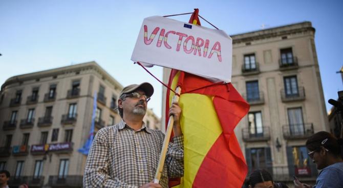 Антисепаратистко шествие се състоя в Барселона