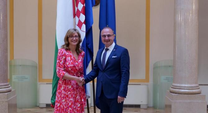 Захариева в Загреб: Радвам се, че Хърватското председателство на ЕС продължава работата по нашите приоритети