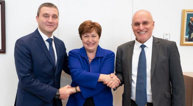 Владислав Горанов се срещна с управляващия директор на МВФ Кристалина Георгиева