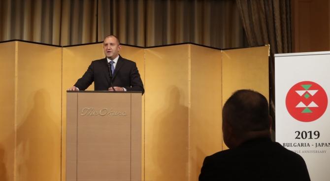 """Президентът: Успешното партньорство на България с корпорация """"Мейджи"""" укрепва доверието и е пример за японските инвеститори"""