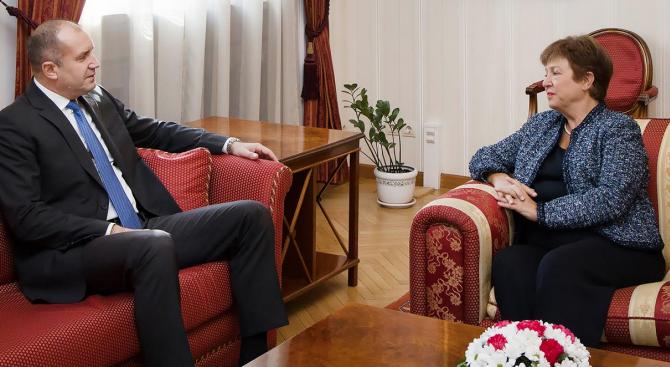 Румен Радев се срещна с Кристалина Георгиева