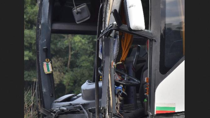 """Верижна катастрофа с пътнически автобус на АМ """"Струма"""""""