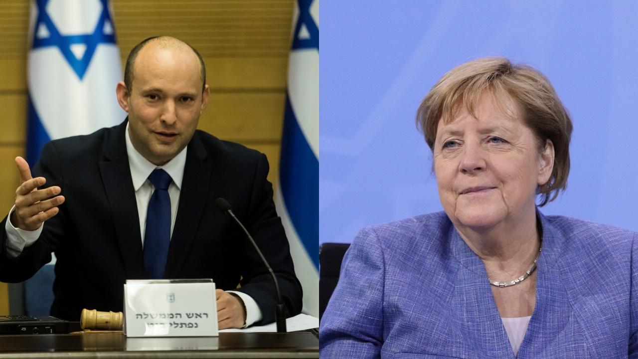 Израелският премиер Нафтали Бенет разговаря по телефона с Ангела Меркел