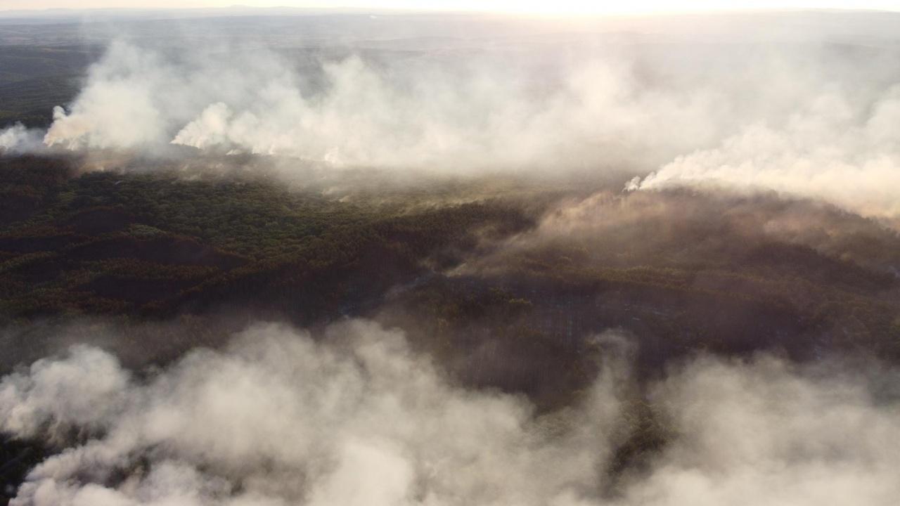 Пожарът между Делчево и Пехчево е на безопасно разстояние от българската граница