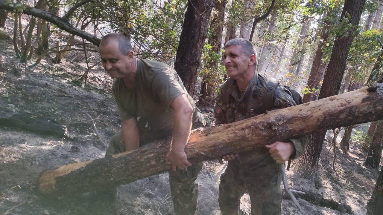 Военнослужещи помагат в гасенето на пожара над Карлово