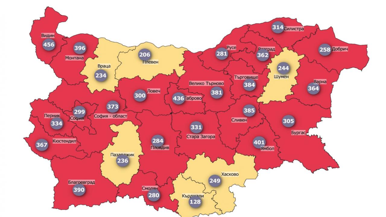 """22 области в страната са в """"червена"""" зона по COVID-19"""