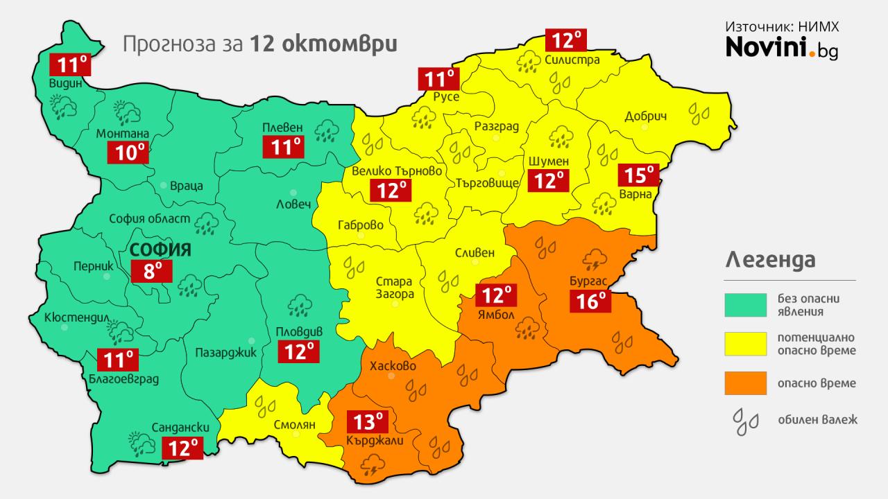 Оранжев код за интензивни валежи за 4 области, жълт за други 12