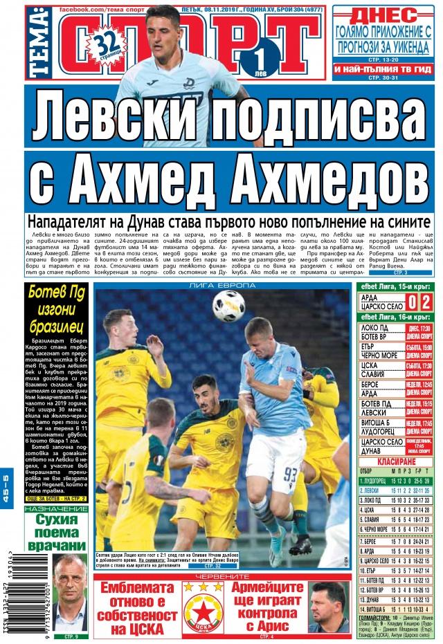 Тема спорт: Левски подписва с Ахмед Ахмедов