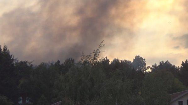 Горски пожар до стадиона преди мача на Стоичков